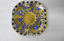 Antique Coalport Demitasse Cup Saucer Bamboo Bird Cobalt Gilded Gold