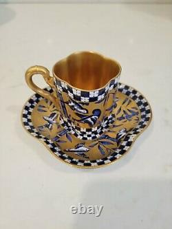 Antique Coalport Demitasse Cup & Saucer, Birds & Bamboo Quatrefoil