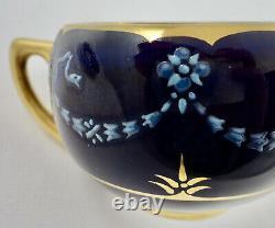 Antique Coalport Demitasse Cup & Saucer, French Enamel