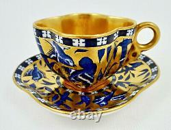 Antique Coalport Demitasse Cup & Saucer, Quatrefoil