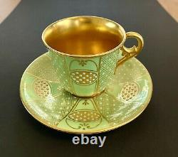 Antique Coalport Jeweled Green/turquoise/gold Demitasse Cup & Saucer Set