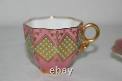 Antique Coalport Jeweled Turquoise/pink/gold Demitasse Cup & Saucer Set