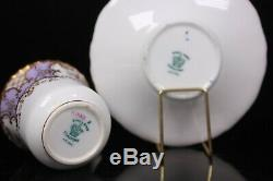 Antique Coalport Lilac Batwing Demi Tasse Cup and Saucer Circa 1890