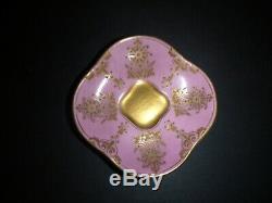 Antique Coalport Mini Demitasse Cup & Saucer England Pink Gilt Gold Embossed