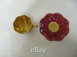 Antique Coalport Petite Tiny Gilded Burgundy Demitasse Cup Saucer Set Ad1750