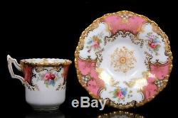 Antique Coalport Pink Batwing Demi Tasse Cup and Saucer Circa 1890