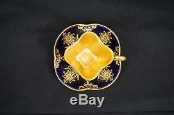 Antique Coalport Porcelain Demitasse Cup Saucer COBALT Gold Design Beautiful