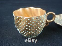 Antique Coalport Porcelain Gold Jeweled Turquoise Demitasse Swirl Cup & Saucer