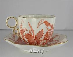 Antique Coalport Red White Transferware Bone China Demitasse Cup Saucer Foliate