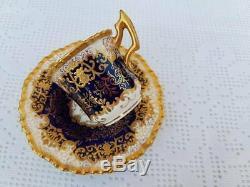 Antique Coalport Richly raised gold Blue Cobalt Demitasse cup & saucer