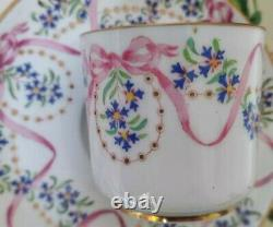 Antique Copeland Spode Pink Ribbon & Bow Demitasse/Coffee Cup & Saucer Tea Set 3