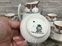 Antique Crown Ducal Orange Tree Demitasse Cups Saucers Cream Sugar Set 6 tea