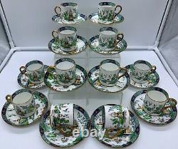 Antique Crown Staffordshire Willow Chinese Tiffany Demitasse Cup Saucer Set 24