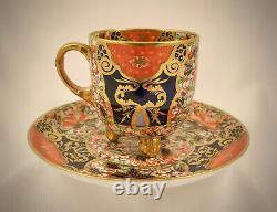 Antique Davenport Demitasse Cup & Saucer, Footed