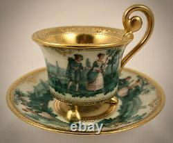 Antique Donath Dresden Demitasse Cup & Saucer, Scenic, Footed