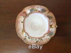 Antique Doulton Burslem HandPainted Floral Demitasse Cup & Saucer Set ca. 1886