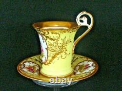 Antique Dresden Demitasse Cup & Saucer Courting Couple Hand Painted