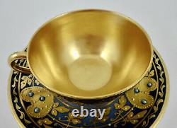 Antique Dresden Demitasse Cup & Saucer, Jeweled