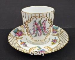 Antique Dresden Demitasse Cup & Saucer Marie Antoinette Monogram