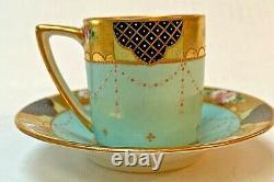 Antique Dresden Porcelain Blue Demitasse Cup & Saucer Hand Painted Signed