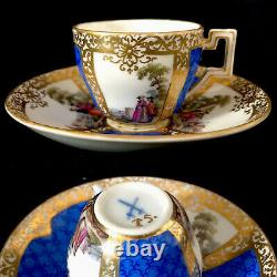 Antique Dresden porcelain Watteau / Courting Couple Demitasse Cup And Saucer