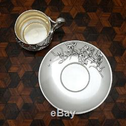 Antique French Sterling Silver Demitasse Cup & Saucer, Thistle Coffee Tea Moka