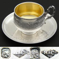 Antique French Sterling Silver Tea Cup & Saucer, Demitasse, Ornate Scroll Patter