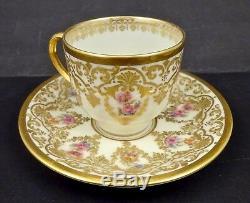 Antique Guerin Limoges Demitasse Cup & Saucer Elegant Gilding
