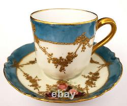 Antique H&C Co Limoges France Porcelain Demi-tasse Cup & Saucer Gold Roses