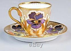 Antique Hallmarked DONATH Demitasse Tea Cup & Saucer Set Floral Gold