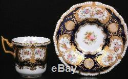 Antique Harrods Coalport Gold Cobalt Blue Jewelled Demi Tasse Cup and Saucer