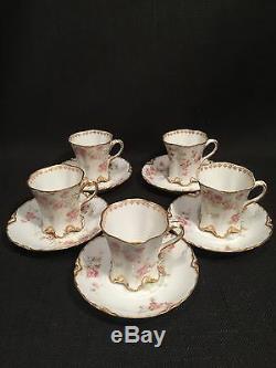 Antique Haviland & Co Limoges, For C Jenner, 5 x Demitasse Floral Cups & Saucers