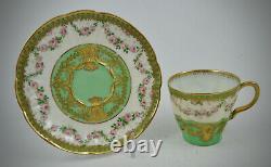 Antique Haviland Limoges Demitasse Cup & Saucer, Rose Garlands