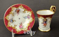Antique Heufel Demitasse Cup & Saucer Hand Painted