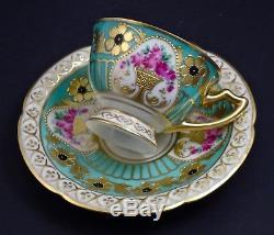 Antique Hutschenreuther Dresden Demitasse Cabinet Cup & Saucer, Fancy Gilding
