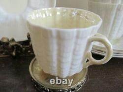 Antique Irish Belleek Ireland Set Of 6 Demitasse Espresso Cup And Saucer