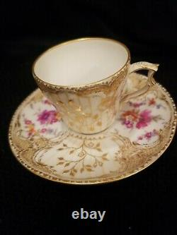 Antique KPM Berlin Demitasse Cup and Saucer, Handpainted, Rococo design Flowers