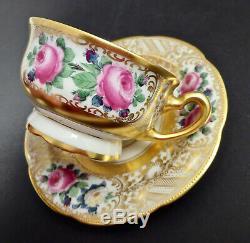 Antique Lamm Dresden Demitasse Cup & Saucer Roses