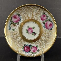 Antique Lamm Dresden Demitasse Cup & Saucer, Roses