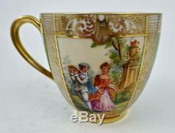 Antique Lamm Dresden Demitasse Cup & Saucer Scenic