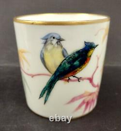Antique Lanternier Limoges Demitasse Cup & Saucer, Exotic Birds