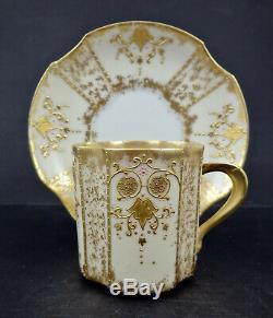 Antique Limoges Demitasse Cup & Saucer Raised Gold