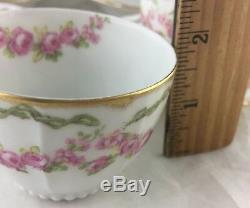 Antique Limoges Demitasse Cup Saucer Set 8 Pc, Gold, Beaded, Pink Rose Swag/garland