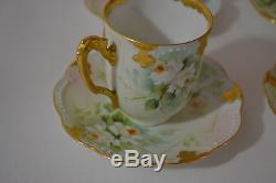 Antique Limoges Handpainted Signed Set Of 6 Demitasse Cups With Saucers