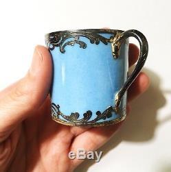 Antique Limoges Porcelain Silver Overlay Portrait Cabinet Demitasse Cup & Saucer