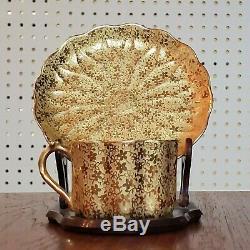 Antique Limoges Tea Demitasse Cup Gold Heavy Gilt Gilded saucer