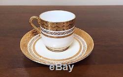 Antique MINTON FOR TIFFANY Gold Encrusted Demitasse Cup & Saucer Set of 10