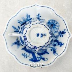 Antique Meissen Blue Onion Ogee Edge Demitasse Cup & Saucer Bowl Crossed Swords