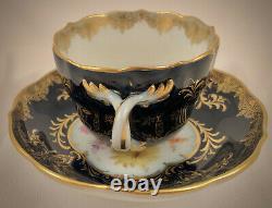 Antique Meissen Demitasse Cup & Saucer, Cobalt Blue