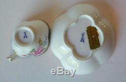 Antique Meissen Demitasse Cup & Saucer- Cobalt Trim with Flowers Germany